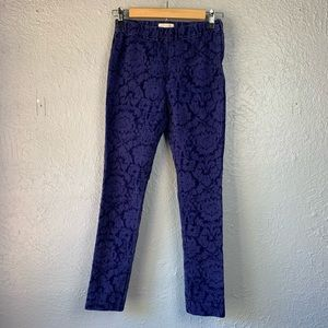 Anthropologie Essential Skinny Floral Velvet Blue